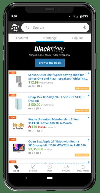 Slickdeals Black Friday deals on the mobile app